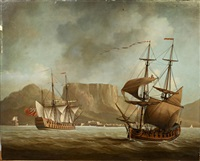 british sailing vessels in the lee of table mountain by louis dodd