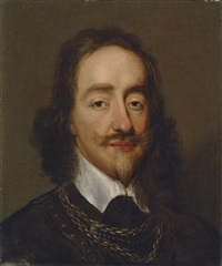 portrait of king charles i in armour by william dobson