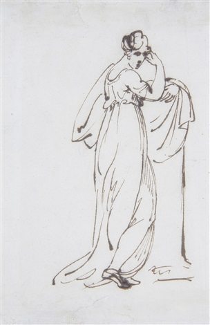 standing figure of a woman (+ two drawings of indian figures, framed as one, by the same hand, (2)) by george chinnery