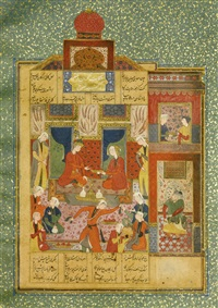 nizami's haft paykar: king bahram in the red pavilion listening to the story of the princess of the fourth clime by anonymous-persian-safavid (16)