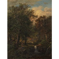 forest landscape with figure beside a brook by william stanley haseltine