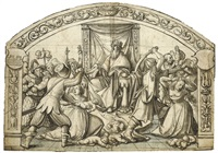 the massacre of the innocents, design for stained glass by hans holbein (-unattributable)