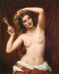 nackte schönheit mit blumenkranz und sektglas by giovanni (carl) squarcina