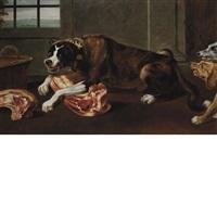 a hound guarding his bone in a larder by juriaen jacobsen