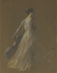 lady standing holding a cello by thomas wilmer dewing