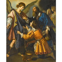 the archangel refuses tobias's offerings by giovanni bilivert