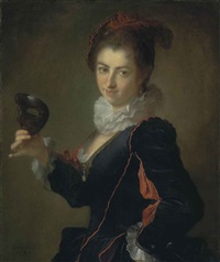 portrait of a lady, à l'espagnole, holding a black mask in her right hand by alexis grimou