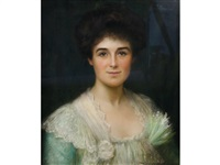 portrait of an edwardian woman with dark hair, wearing a green and white frilled lace gown by fortunée de lisle