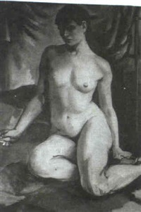 seated female nude by dorothy hart drew