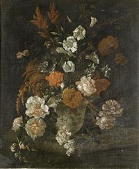 roses, carnations, convolvulus and other flowers in a porcelain vase on a stone ledge by philip van couwenbergh