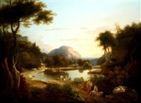 classical figures in an extensive italianate landscape (lake arno?) by samuel james ainsley