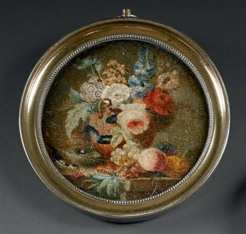 vase de fleurs sur un entablement de marbre un oiseau près dun nid un ananas et des fruits posés au naturel by cornelis van spaendonck