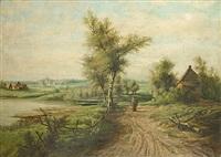 wandelaarster in een landschap by gustave de smet