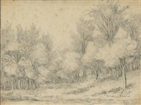 landscape with some trees, a river in the foreground (+ a landscape with a road by some houses; pair) by guillam dubois