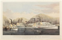 american steamboats on the hudson, passing the highlands by currier & ives (publishers)