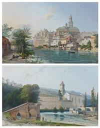 paysage au village au bord de la rivière, paysage à la rivière et au couvent (pair) by jean jacques alban de lesgallery
