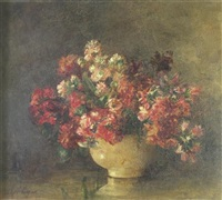 still life of pink flowers by jessie algie