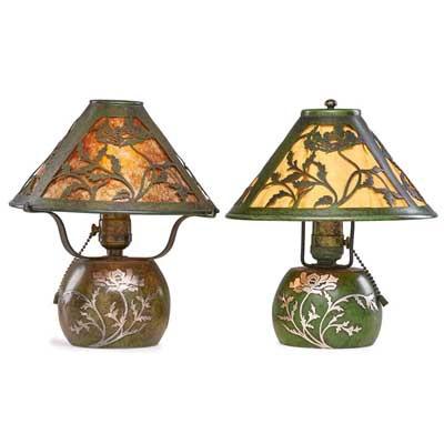Two Sterling On Bronze Poppy Boudoir Lamps By Heintz