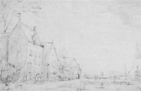a view of houses at the edge of a village by hendrik van der borcht the elder