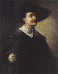 portrait d'un homme tenant son arc by matthäus loder