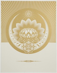 obey lotus crescent (white & gold) by shepard fairey