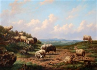 schapen in landschap by louis pierre verwee