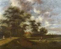 holländskt sommarlandskap med figurer by pieter jansz van asch