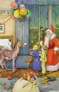 santa and children with donkey in interior by helen jacobs