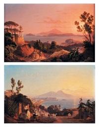 vues d'italie naples du polsilip et le golfe de baja (pair) by carl (karl) wilhelm götzloff