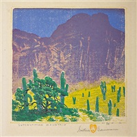 superstition mountain by gustave baumann
