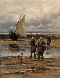 pêcheurs aux haveneaux, plage de concarneau 81 by emile louis vernier