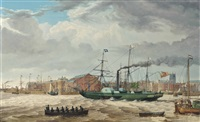 the hull steam packet co.s paddlesteamer victoria proceeding past the hull waterfront by thomas a. binks