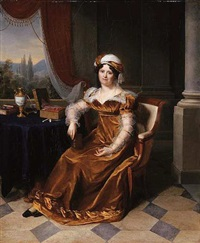 portrait of a lady (madame masbou?) in a mustard velvet dress with chiffon sleeves, a landscape seen through a window beyond by firmin massot