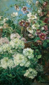 garten mit malven und hortensien by clara elisabeth fischer