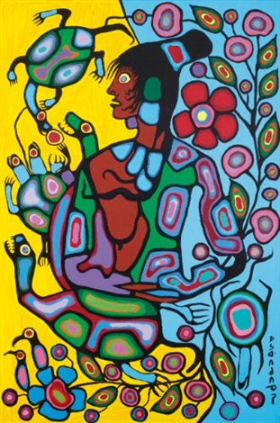 shaman and turtle by norval morrisseau