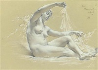 study for profane music by edouard-marie-guillaume dubufe