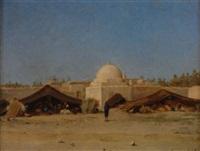 campement nomade devant la ville gabès by jules daubeil