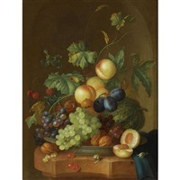 a still life with peaches, grapes, plums, a melon, cherries, walnuts, chestnuts on a wan-li porcelain plate, together with two snails on a marble ledge, draped with a blue cloth by johannes christianus roedig