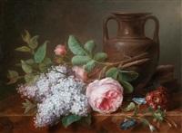 ein stillleben aus flieder, rosen und veilchen auf einer marmorplatte by cornelis van spaendonck