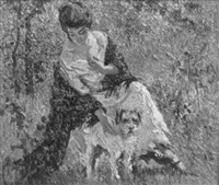 seated woman with dog by charles f. arcieri