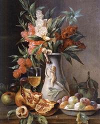 stillebn mit blumen und granatapfel by g. tomassi