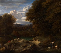 a shepherd boy resting near his flock on a sandy bank in a wooded river landscape by cornelis huysmans