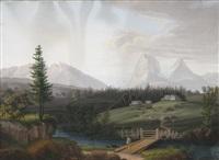 la traversée du pont devant un paysage de glaciers (+ 2 others; 3 works) by jean baptiste pichot