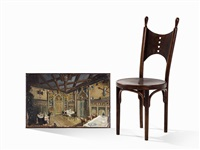 chair with matching painting (2 works, painting is oil on tin) by j. & j. kohn