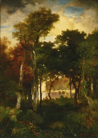 a glimpse of georgica pond by thomas moran