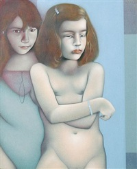 portrait of two girls by graham ovenden