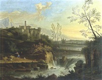 an extensive classical river landscape with a waterfall, and a fisherman with a dog on a path, other figures near the river beyond, a town on a rocky outcrop beyond by nicolas (opgang) piemont