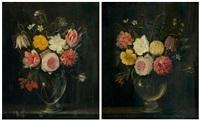 nature morte au vase de fleurs posé sur un entablement (pair) by frans ykens