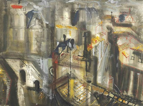 rooftops at angoulême by john piper