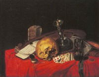 a vanitas still life with a skull, playing cards, books, candle, a violin, music book and a pocket watch on a red draped table by n. l. peschier